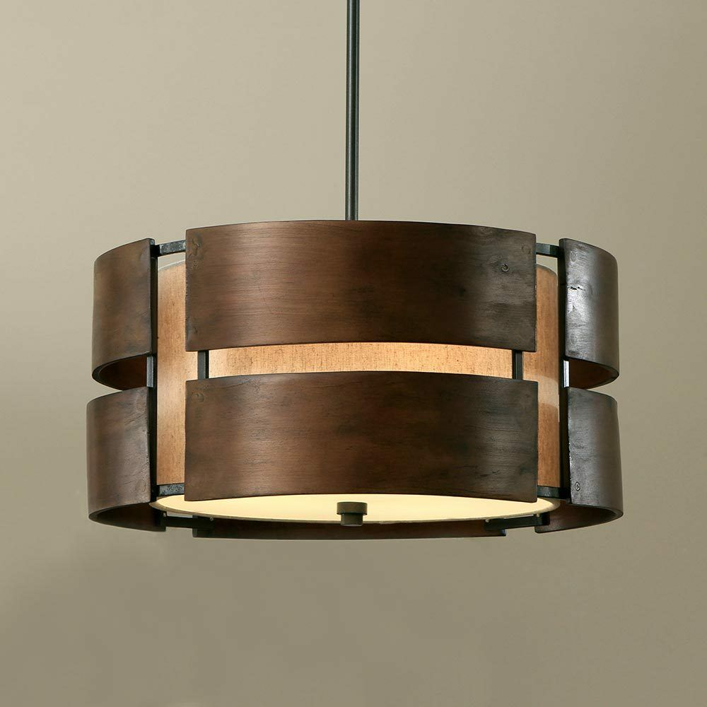 Wood Lighting Fixtures: Walnut 3 Light Drum Chandelier Wood Shade Pendant Lamp