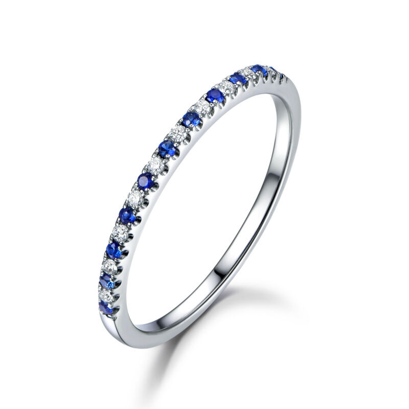 blue sapphires diamonds wedding band half eternity ring solid 14k 18k white gold ebay. Black Bedroom Furniture Sets. Home Design Ideas