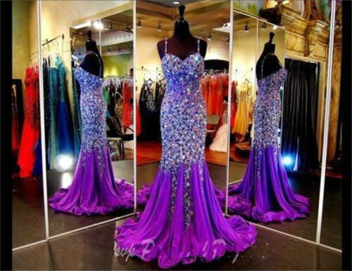 Luxury Crystal Rhinestone Mermaid Evening Ball Gown Formal
