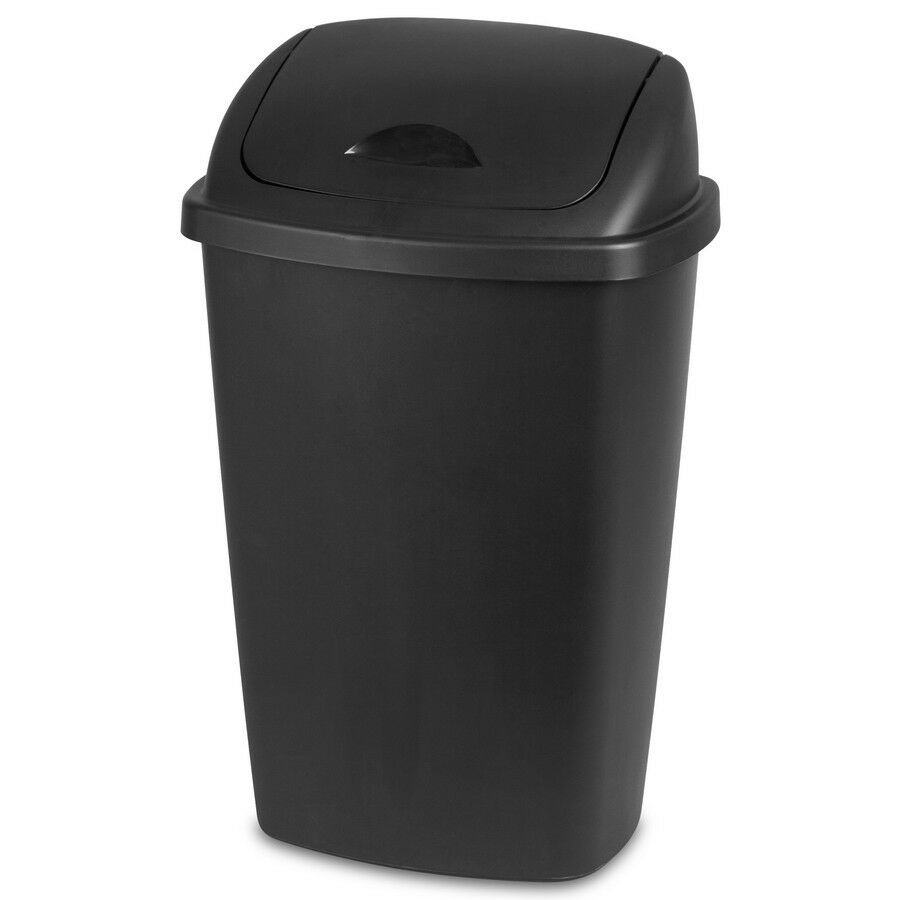 Trash can 13 2 gallon swing lid black indoor kitchen waste Large kitchen trash can with lid