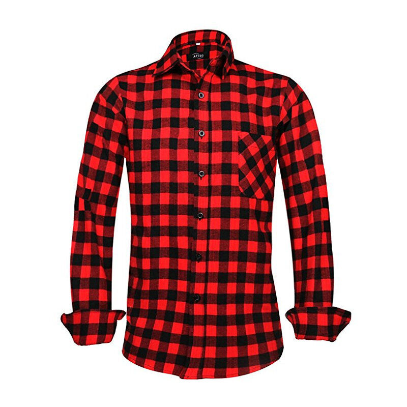 Mens red black plaid lumberjack shirt long sleeve button for Red and white plaid shirt mens