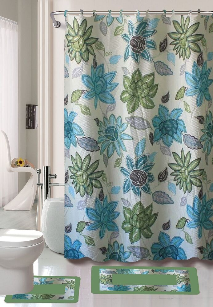 lily flower turquoise 15 piece bathroom set bath rugs shower curtain rings blue ebay. Black Bedroom Furniture Sets. Home Design Ideas
