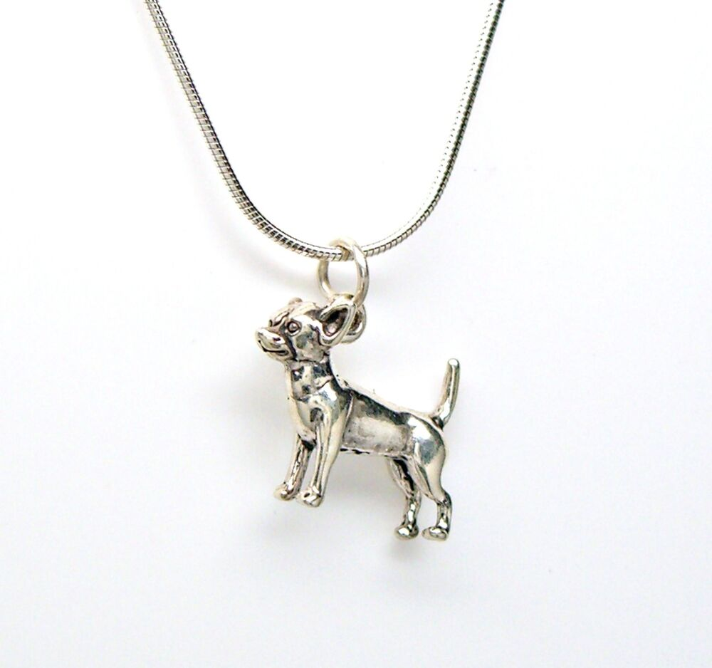 chihuahua 925 sterling silver necklace chain and