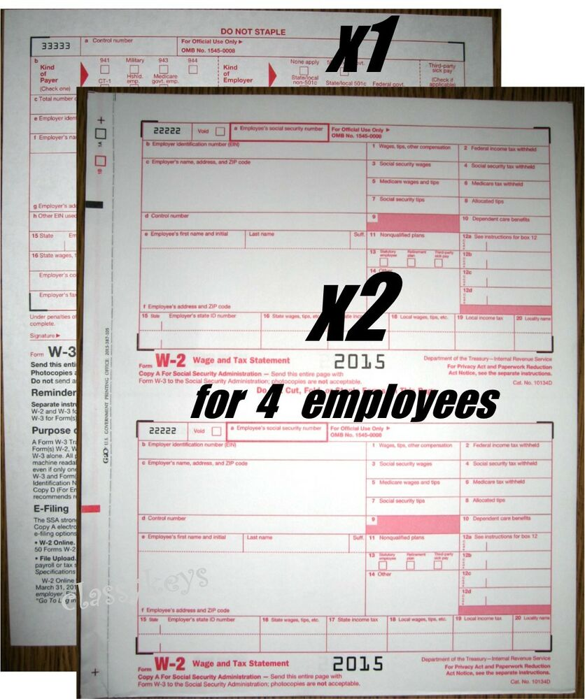 2015 IRS Forms W-2 Wage/Tax Stmt carbonless, 2 sets for 4 ...