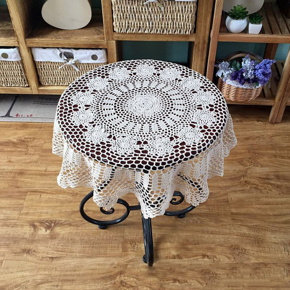 Vintage Hand Crochet Cotton Tablecloth Round Table Cloth