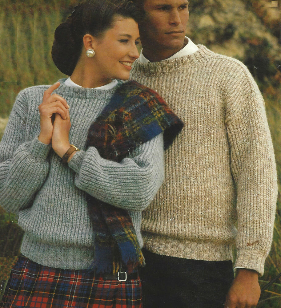 Ladies Easy Knit Sweater Knitting Pattern Mens DK 32-44 ...