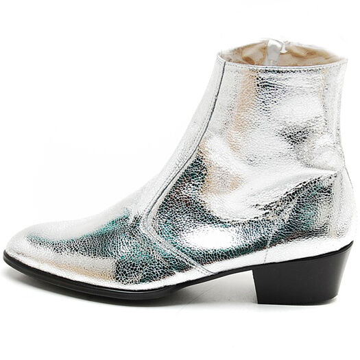 s glitter silver inner real leather side zip high