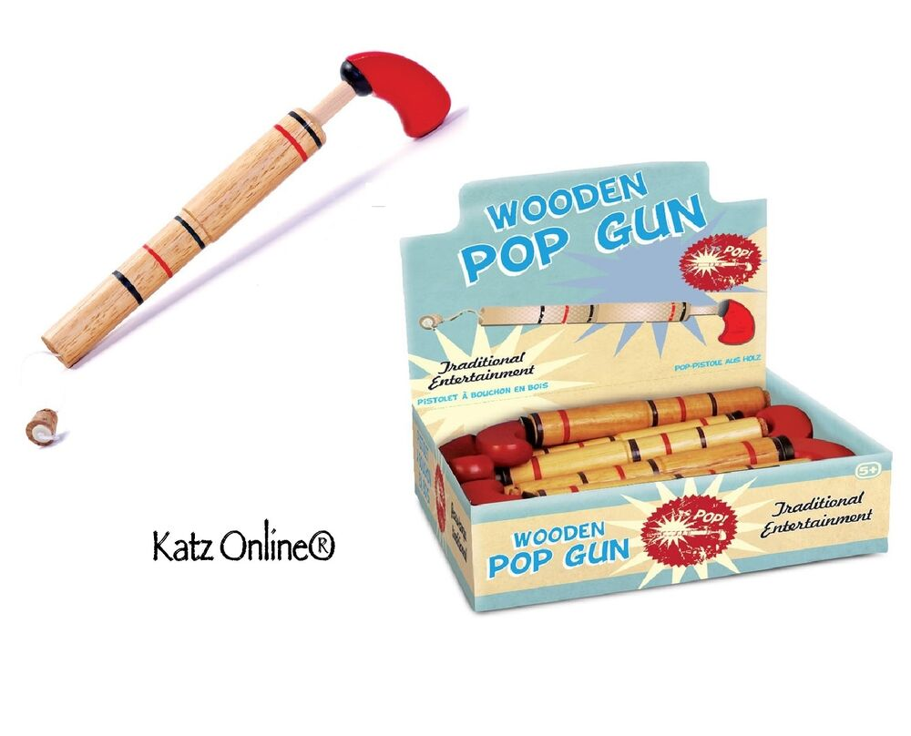 Kids traditional wooden cork pop gun toy classic christmas