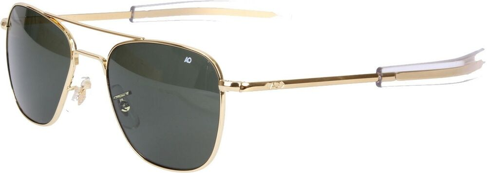 AO Eyewear Gold Frame 52MM Green Lenses Original Pilots Sunglasses Aviators  90577321929  b983063d6db