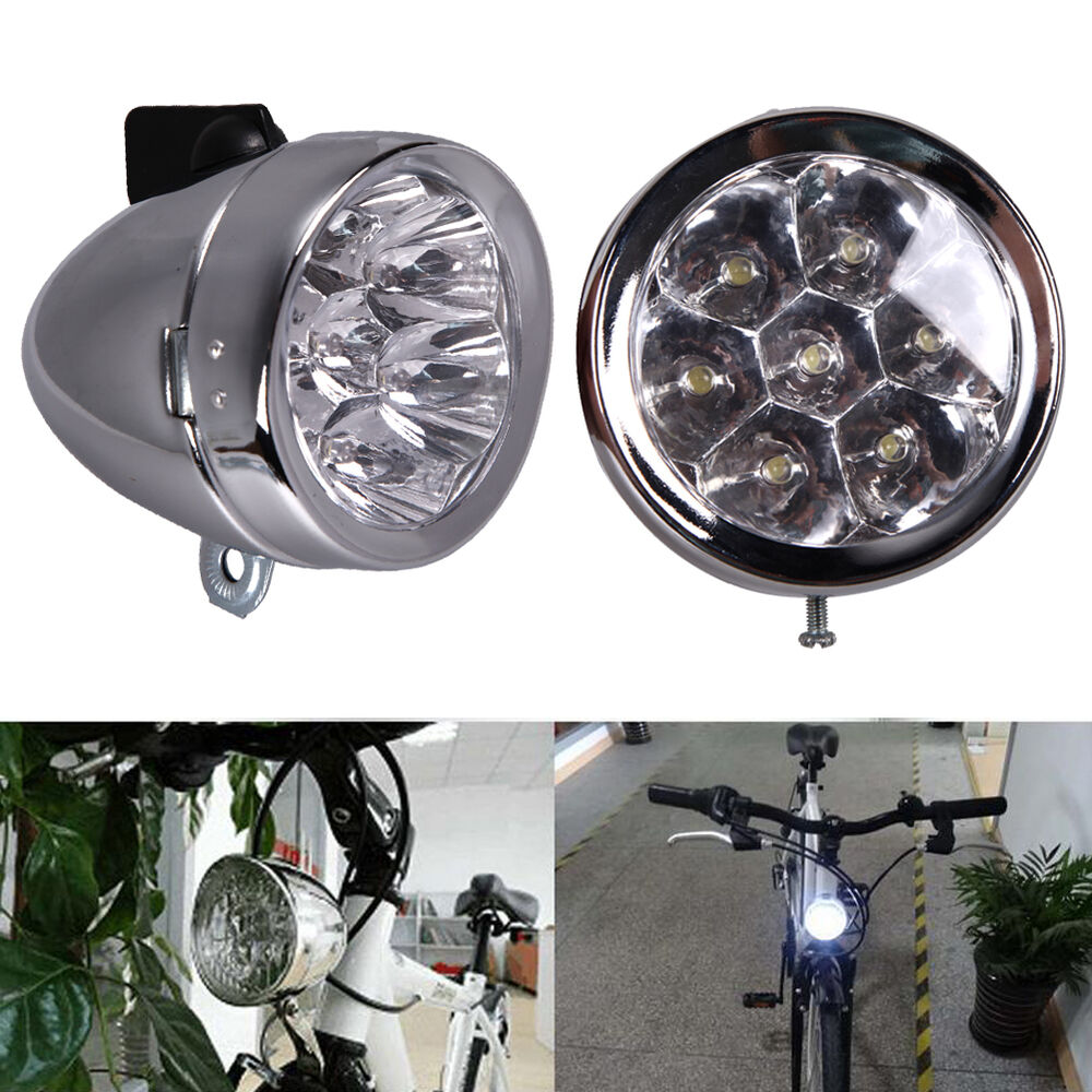 vintage 7 led bike bicycle head lights lamp front headlight headlamp w bracket ebay. Black Bedroom Furniture Sets. Home Design Ideas