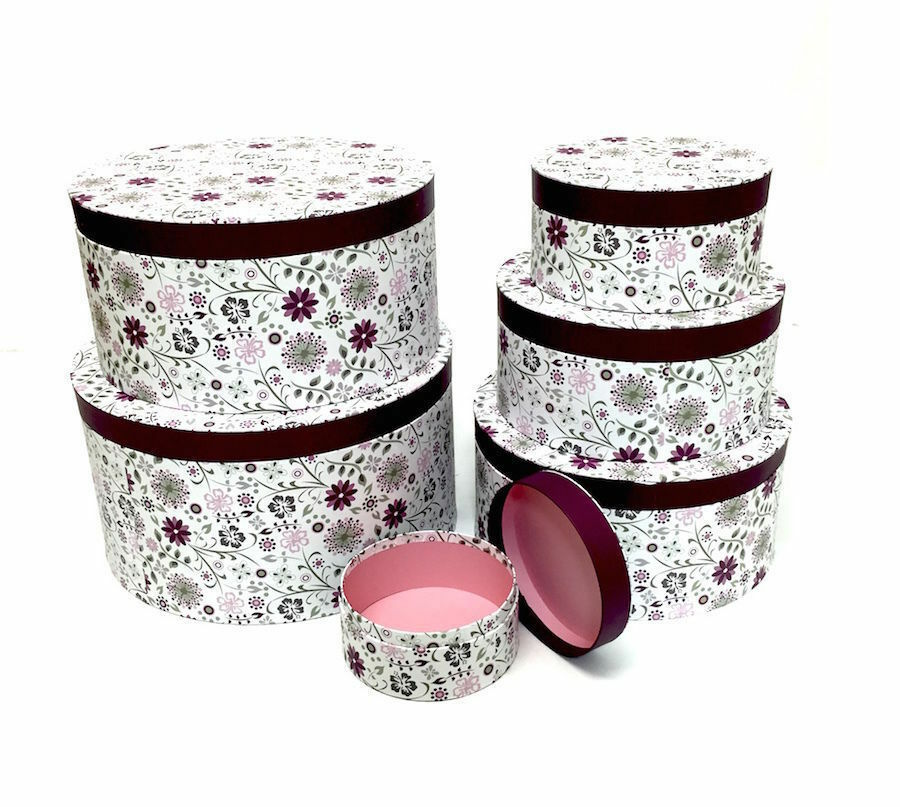 Decorative Boxes Uk: Decorative Round Purple Floral Home Office Storage Boxes