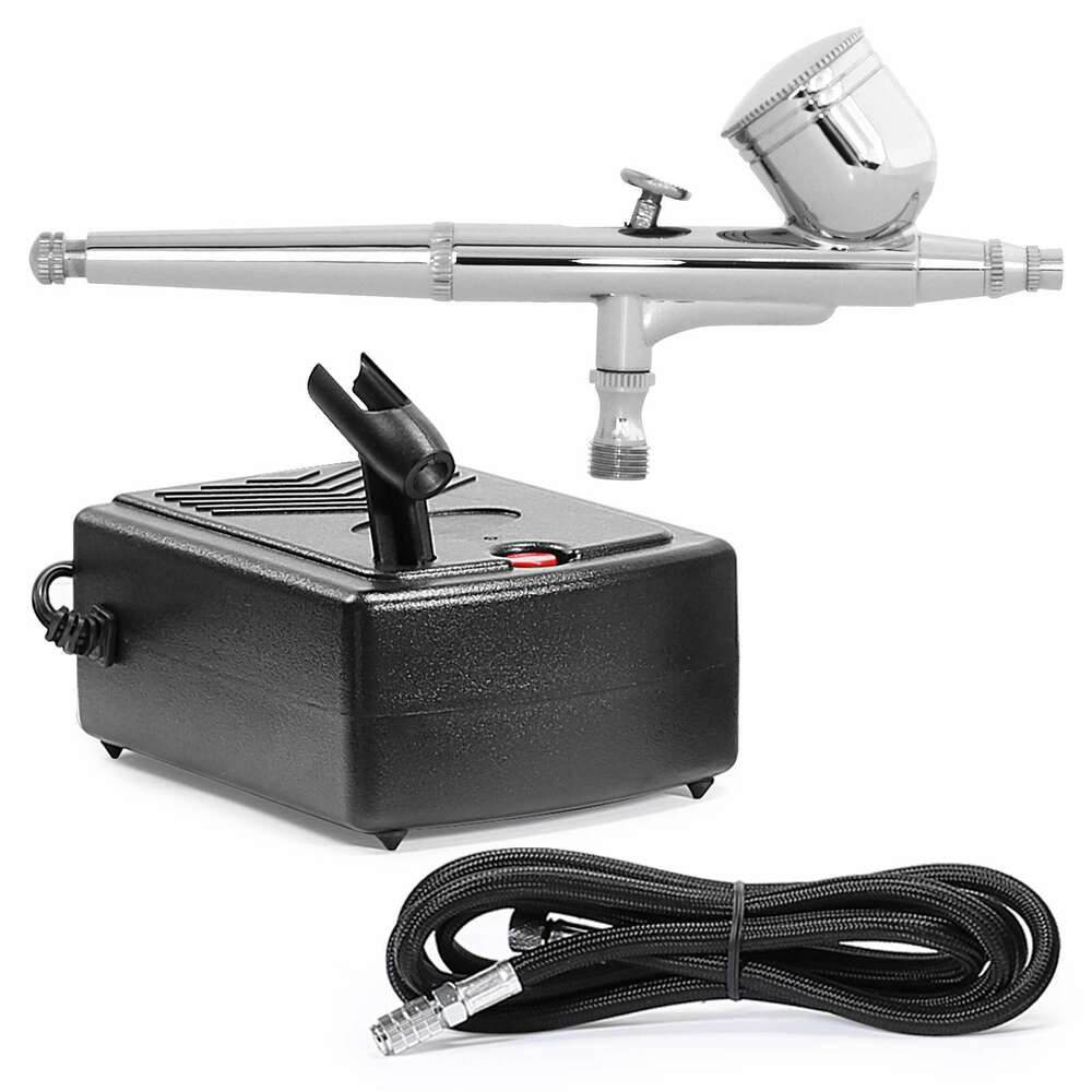 dual action airbrush kit with mini compressor ebay. Black Bedroom Furniture Sets. Home Design Ideas