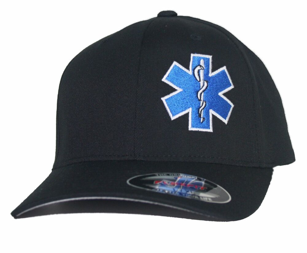 Emt Star Of Life Flexfit Fitted Hat Paramedic Cross Ems