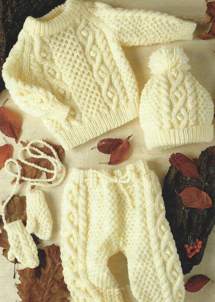 Childs Aran Jumper Knitting Pattern : Baby Knitting Pattern Aran Sweater Mittens Leggings Hat 18-26