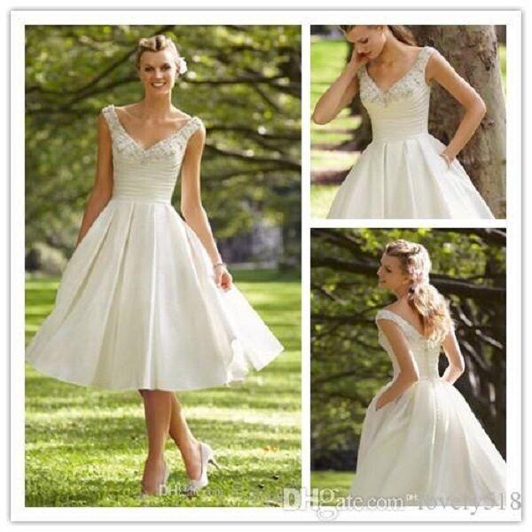 2015 Tea Length Country Wedding Dresses Beaded A Line V