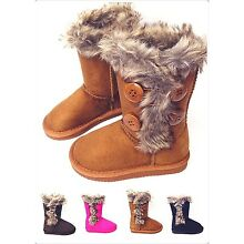 Girls Kids 4-buttons Comfort Fully Faux Fur Lining Winter Snow Warm Boots New-01