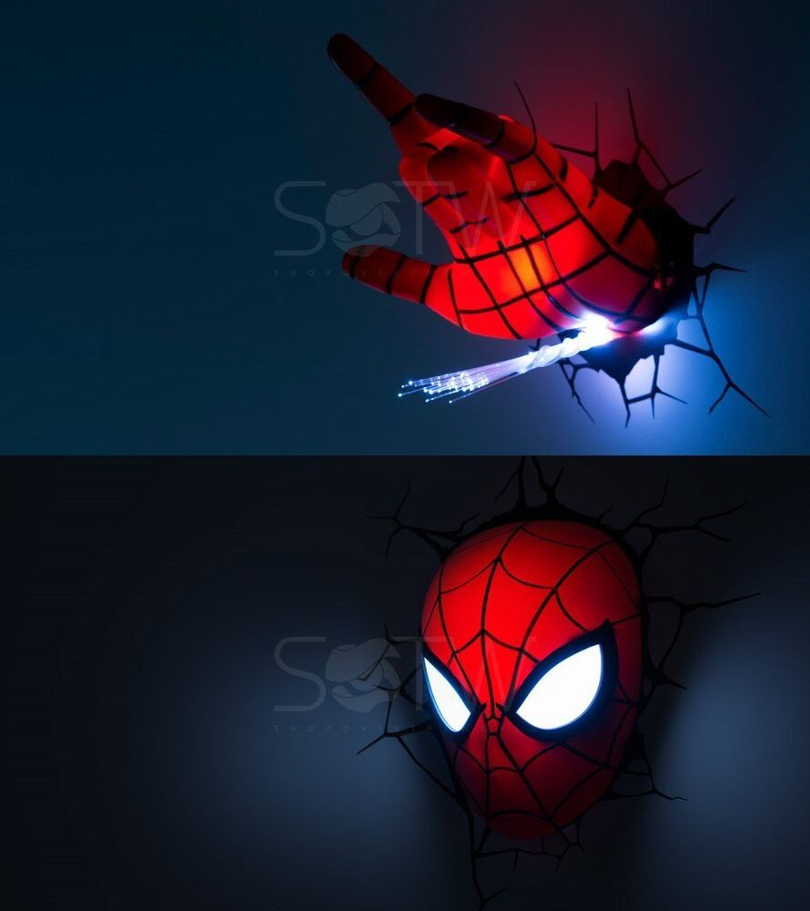 Marvel Night Lights Wall : Marvel Avengers LED 3D Wall Night Light Deco Super heroes Spideman Head Hand Set eBay