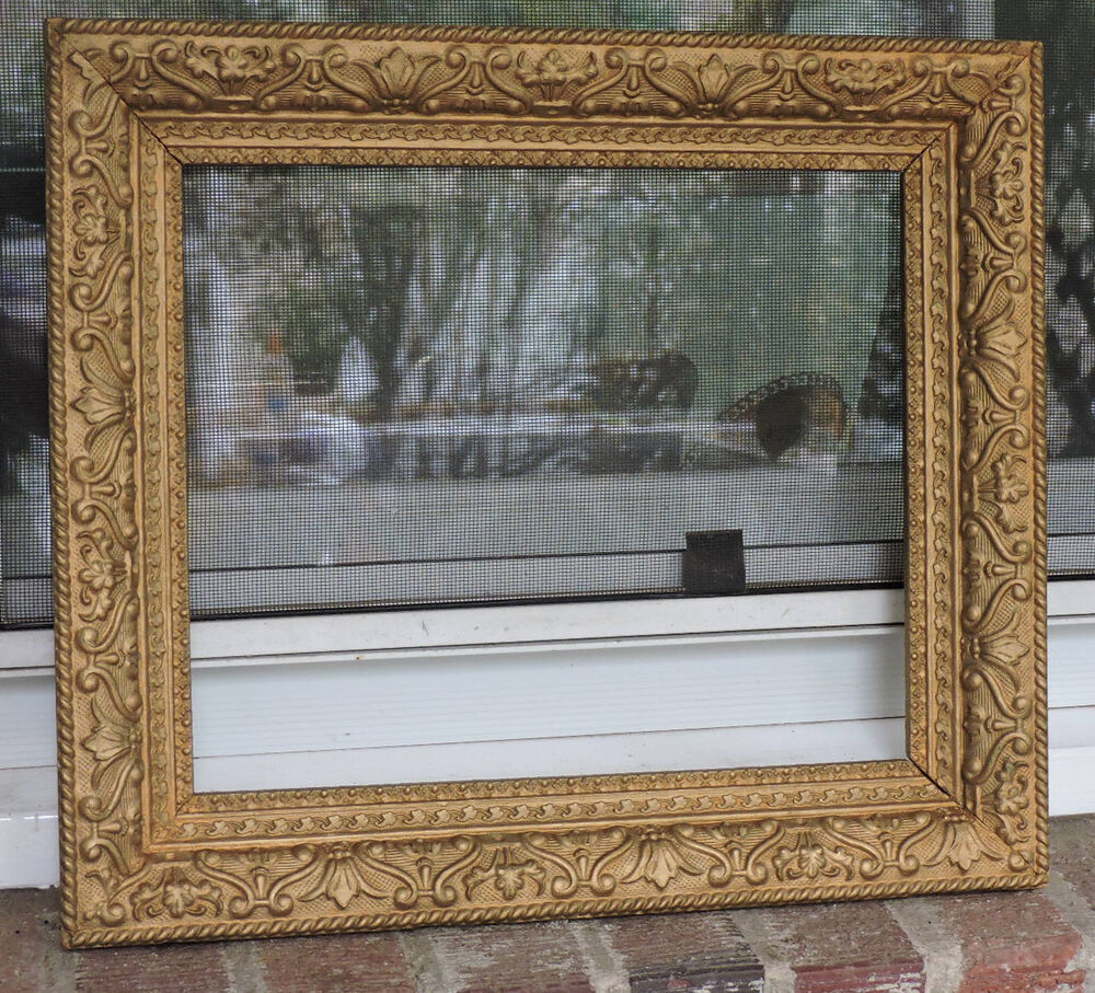 vintage victorian style gold flowers gesso compo picture frame 10 x 12 c1940s ebay. Black Bedroom Furniture Sets. Home Design Ideas