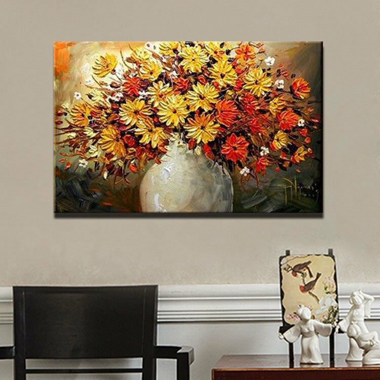 Wall Decor Large Paintings : Large hand painted wall decor art abstract oil painting