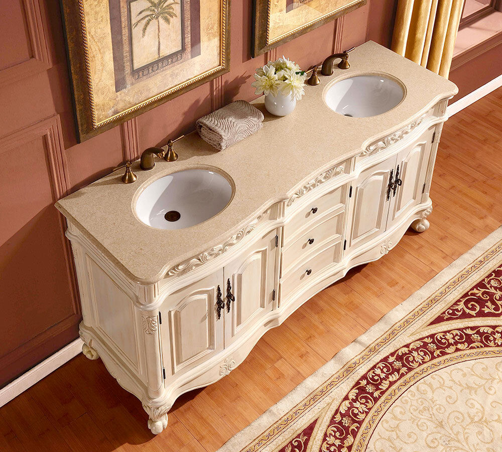 "Marble Bathroom Sink Countertop: 72"" Marble Stone Countertop Dual Bathroom Vanity Double"