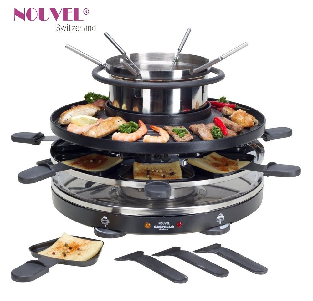 raclette fondue grill 3 in 1 multifunktionsger t nouvel swiss de luxe ebay. Black Bedroom Furniture Sets. Home Design Ideas
