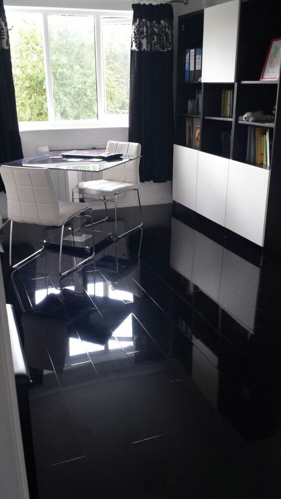 Black High Gloss Laminate Flooring Price Per 2 1 Sqm Designer Finish Ebay