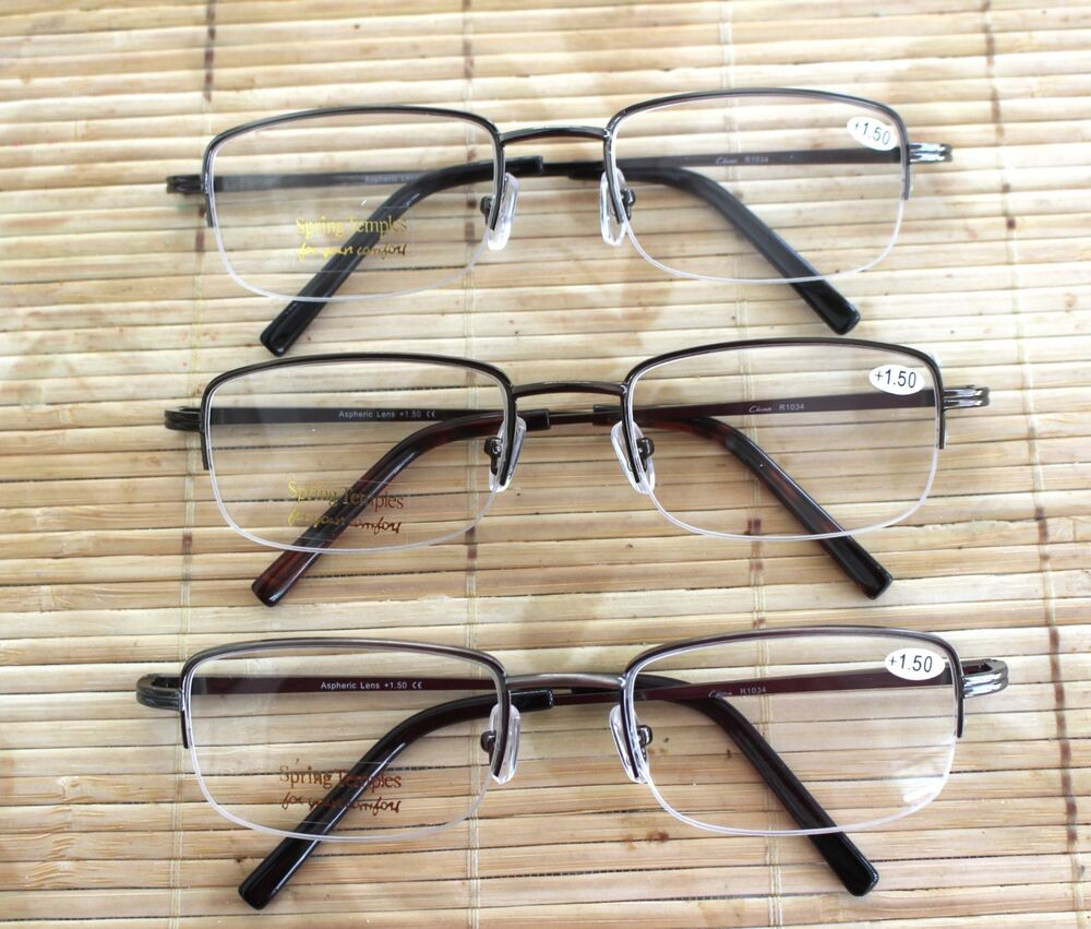 HALF RIM HALF FRAME READING GLASSES CHEATERS SPECS WITH ...