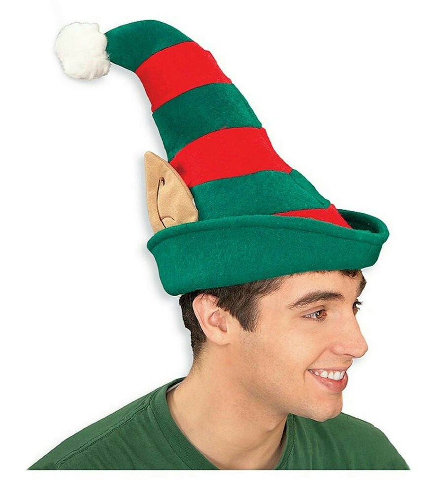 Red and green striped christmas elf hat with ears pom