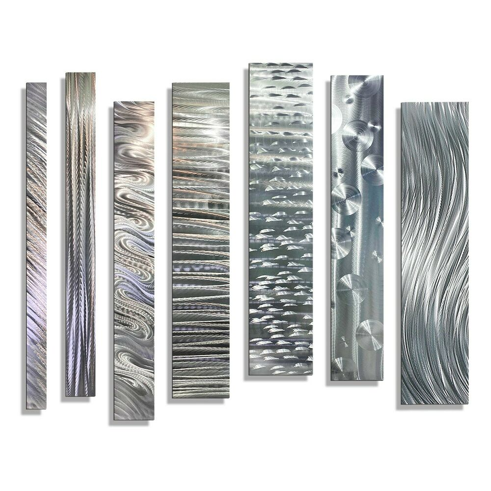 Silver modern metal wall sculpture contemporary home decor divided unison ebay Home decor wall art contemporary