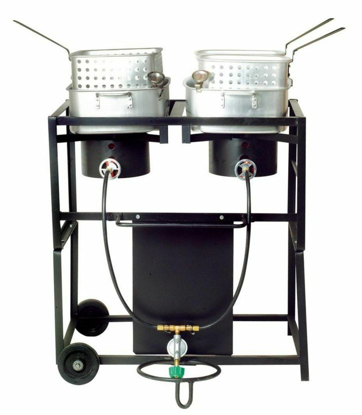 Propane Gas Outdoor Frying Cart With Two Frying Pans