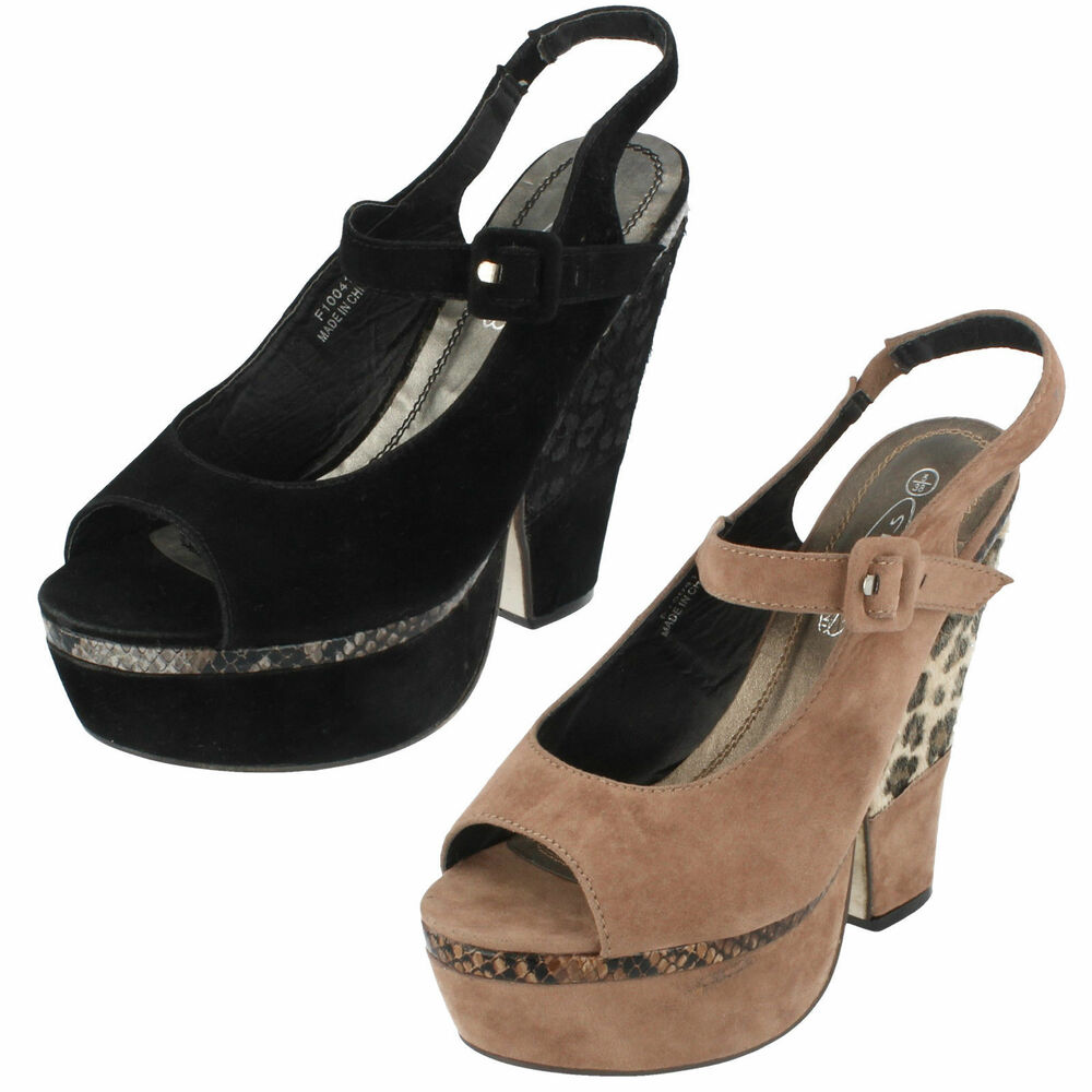 fc9eec4c765c Details about Spot On Ladies Platform Wedge Heel Shoes F1R0041 Black or  Taupe UK 5   6 (R2A)