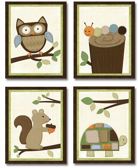 Neutral Classroom Decor ~ Woodland forest friends neutral wall art for nursery decor