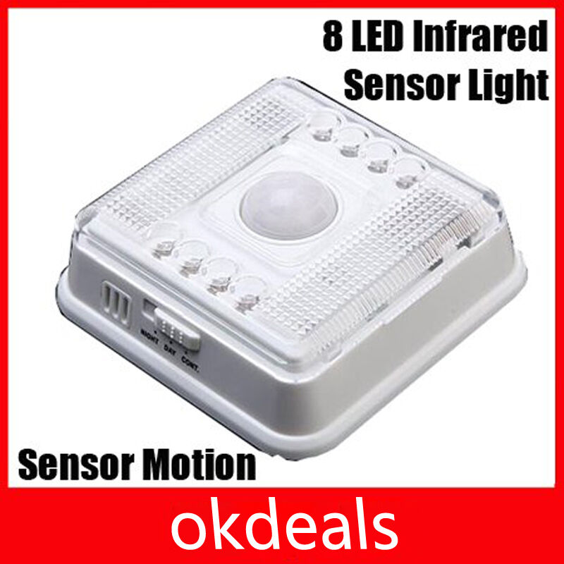 new 8 led light pir auto sensor motion detector wireless infrared home outdoors ebay. Black Bedroom Furniture Sets. Home Design Ideas