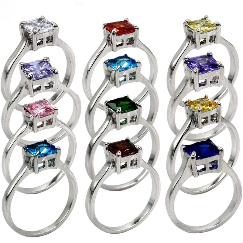 3-12 Rhodium Princess Cut Birthstone Ring Wedding Birthday