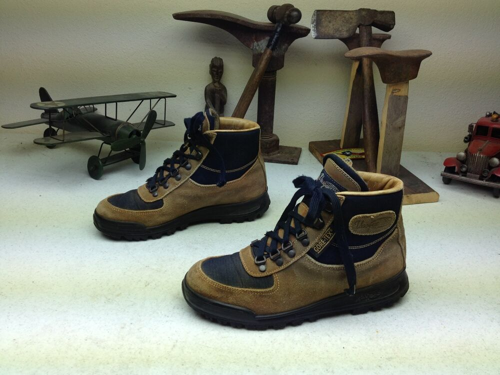 made in italy vintage brown vasque distressed lace up hiking trail boots 8 m ebay. Black Bedroom Furniture Sets. Home Design Ideas