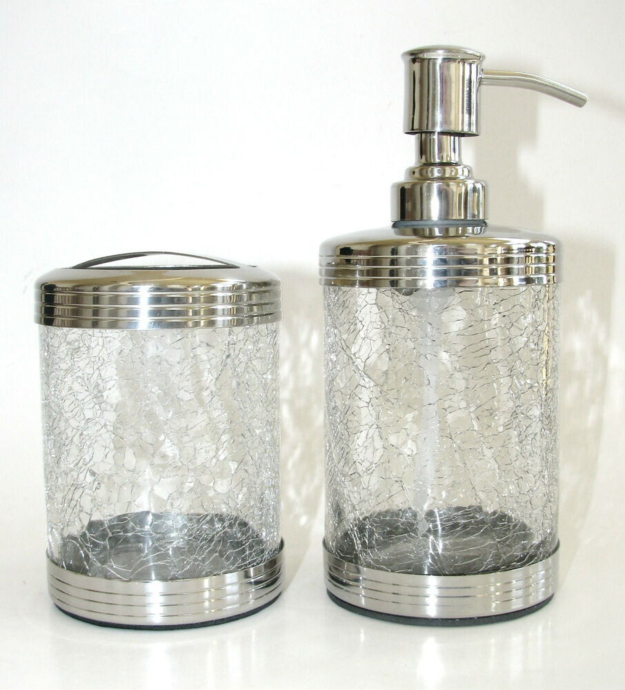 2pc Set Paradigm Clear Cracked Glass Soap Lotion Dispenser