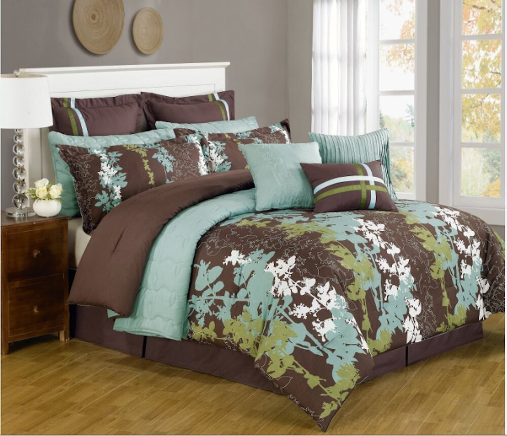 Bedding Decor: 12 Pc Teal, Green, Brown & White Floral Print Comforter