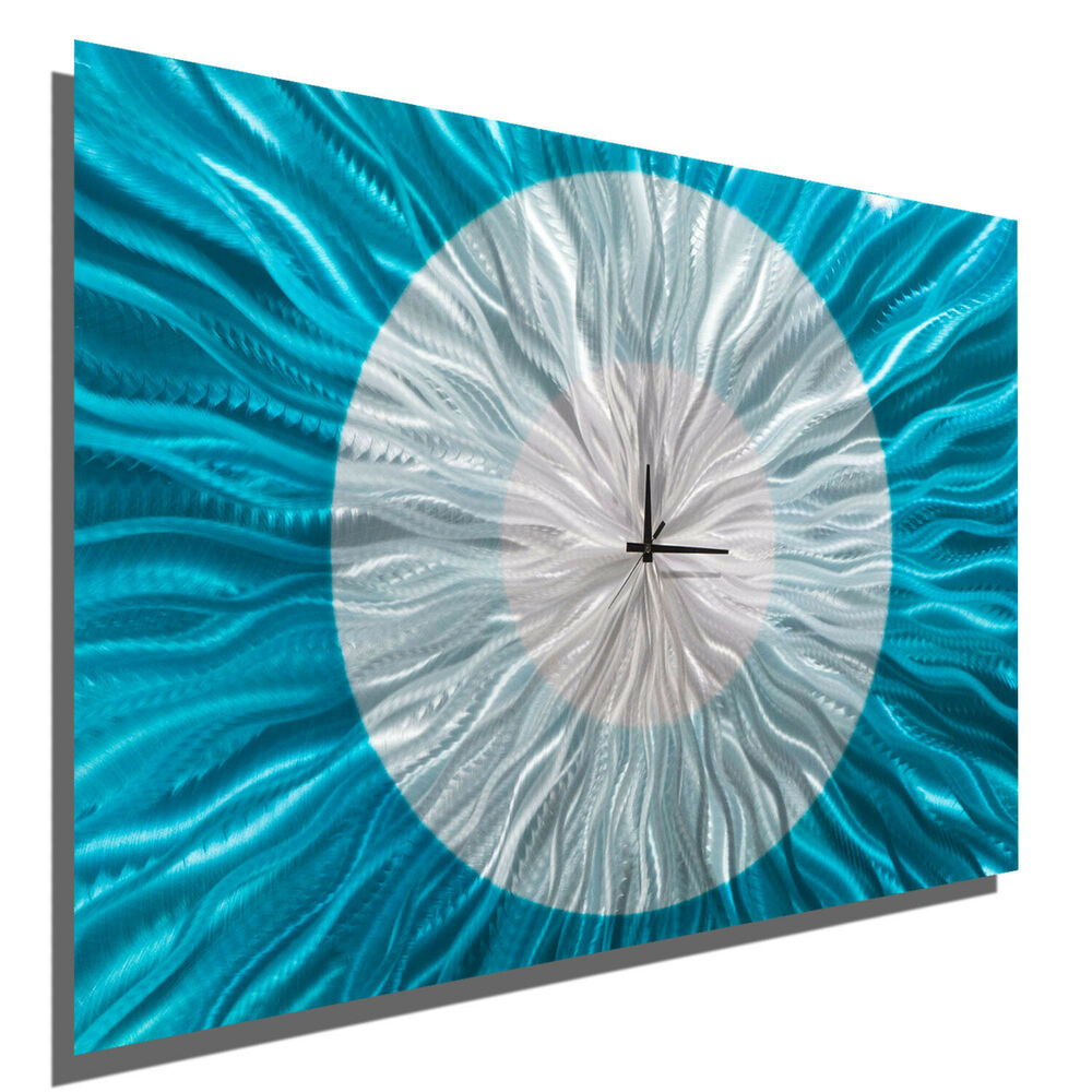Contemporary Silver Wall Decor : Modern aqua silver wall clock contemporary metal