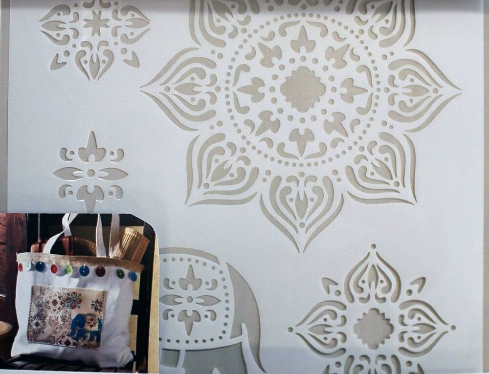 Painting stencil elephant craft large wall fabric brush for Arts and crafts stencils craftsman