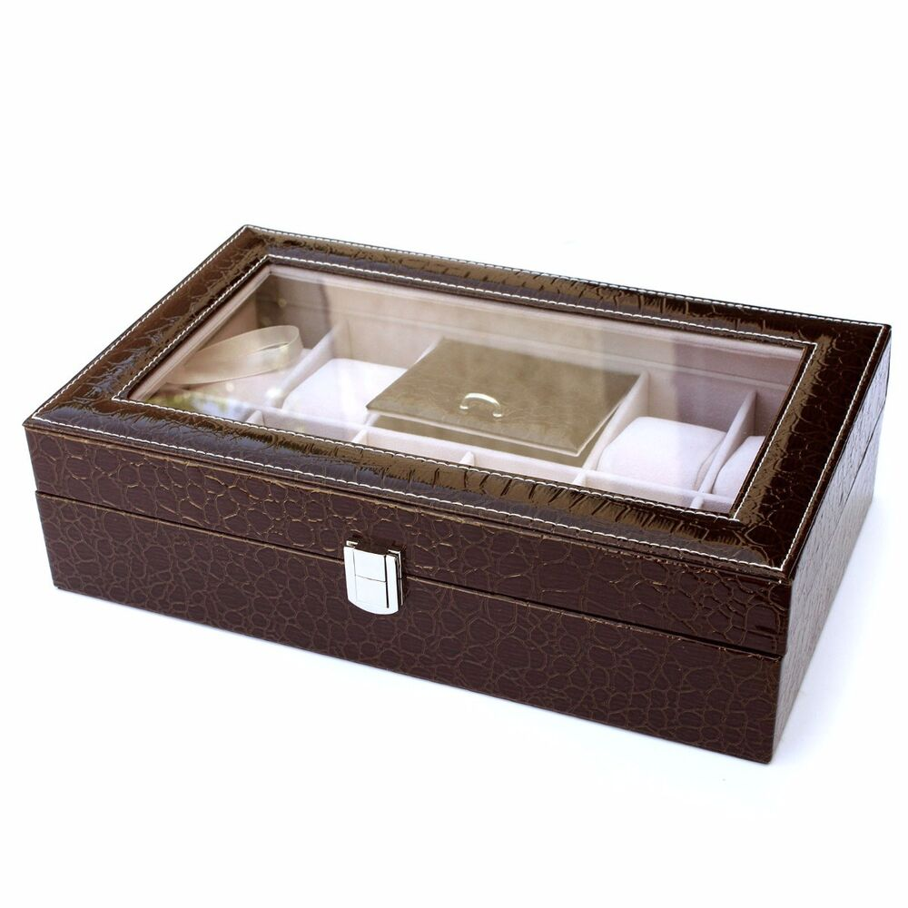 8 Slot Leather Watch Box Display Case Organizer Glass Top