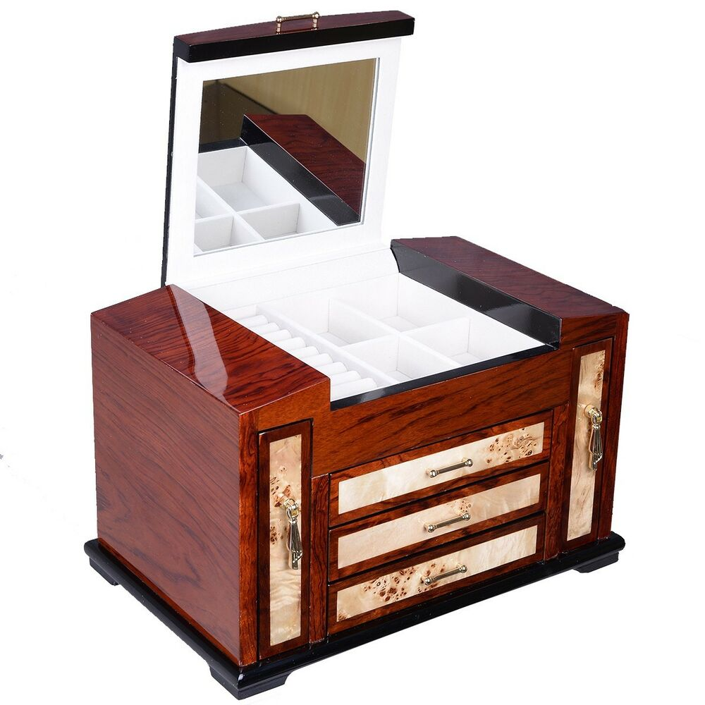 Wooden jewelry case layers w drawer storage box