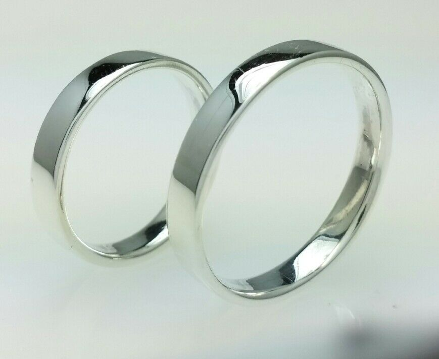Sterling Silver Wedding Band Rings Set 4mm Polished His And Her Rings