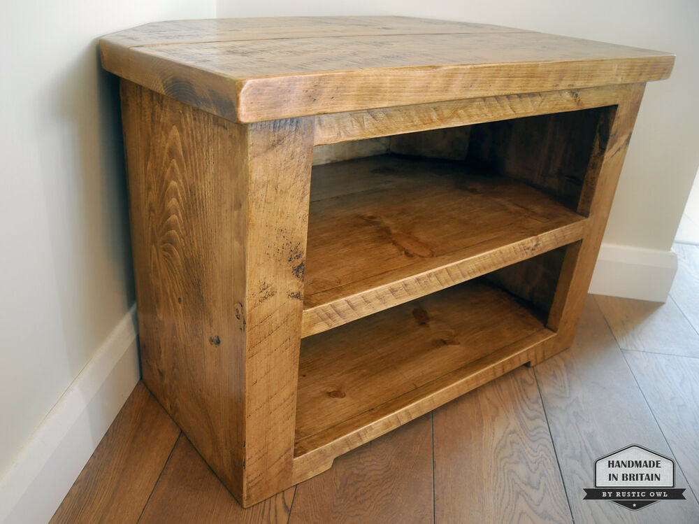 rustic pine corner tv unit solid chunky wood stand cabinet with shelves ebay. Black Bedroom Furniture Sets. Home Design Ideas