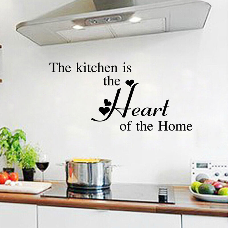 Kitchen Heart Removable Wall Stickers Vinyl Art Decor Home Quote Decal Diy Ebay