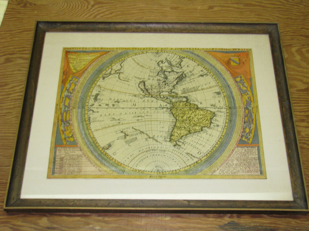 Framed World Antique Map Premium Wood Frame 17 X 14 Inches