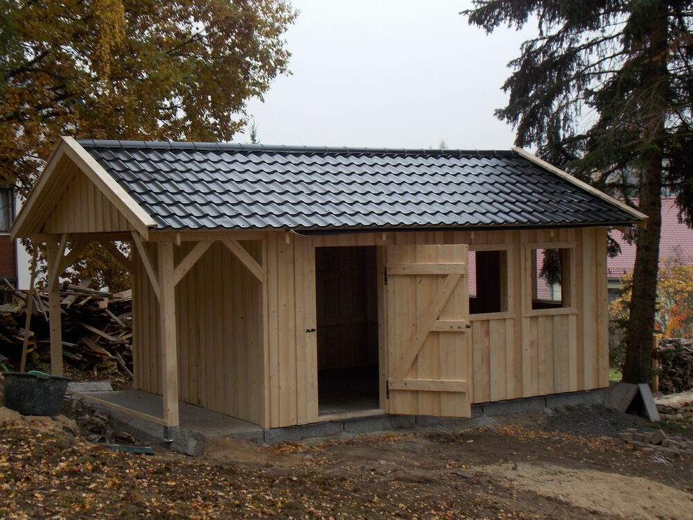 gartenhaus ferienhaus holzrahmen 5 x 4 m mit 1 20 vordach. Black Bedroom Furniture Sets. Home Design Ideas