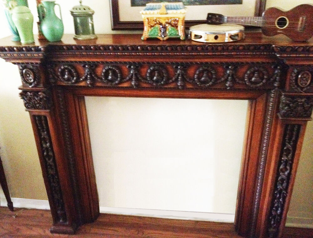 Beautiful Carved Antique Oak Mantel Ebay