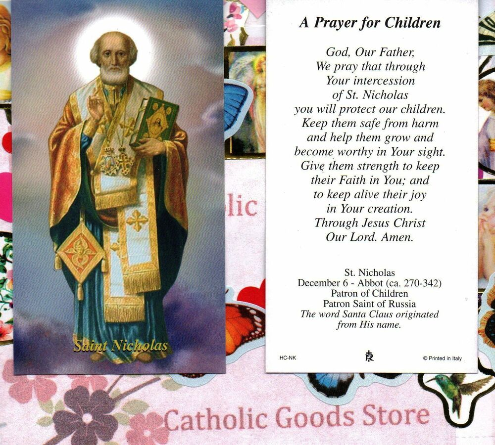 st nicholas with a prayer for children paperstock holy card ebay