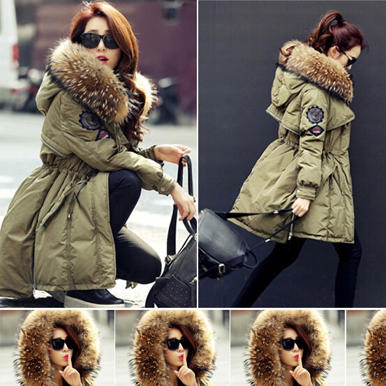 Women Ladies Luxurious Winter Warm Real Fur Hood Duck Down Parka