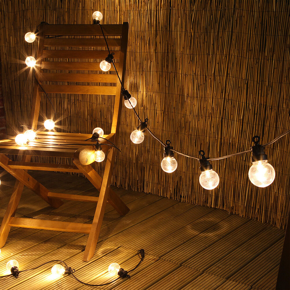 Outdoor Led Bulb String Lights : CONNECTABLE 20 LED OUTDOOR GARDEN WEDDING FESTOON GLOBE CLEAR BULB STRING LIGHTS eBay